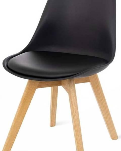 loomi.design Sada 2 černých židlí s bukovými nohami loomi.design Retro