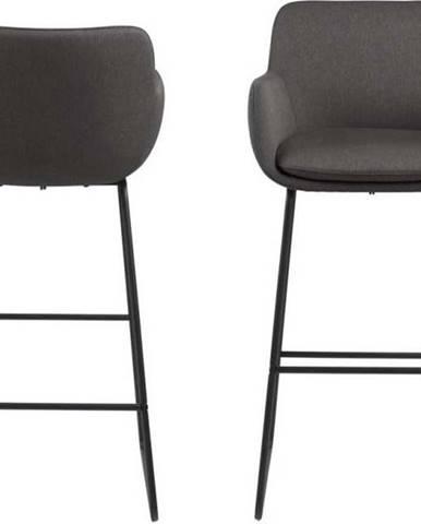 Černá barová židle s kovovou konstrukcí Actona Lisa