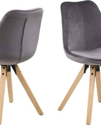 Sada 2 šedých jídelních židlí Actona Dima Velvet