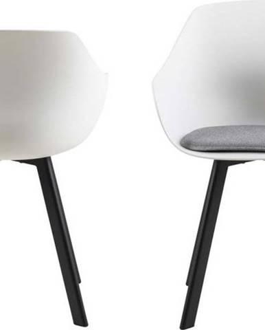 Sada 2 světle šedých jídleních židlí s kovovými nohami Actona Tina