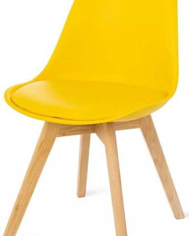 Sada 2 žlutých židlí s bukovými nohami loomi.design Retro