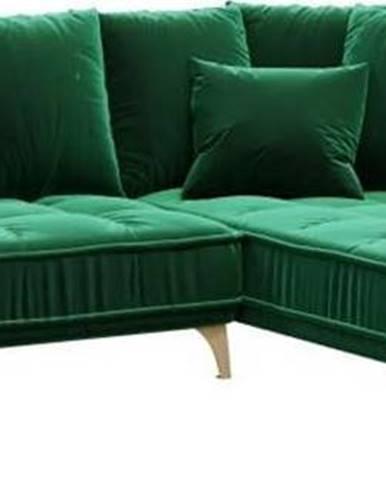 Tmavě zelená sametová rohová pohovka Devichy Chloe, pravý roh, 288 cm
