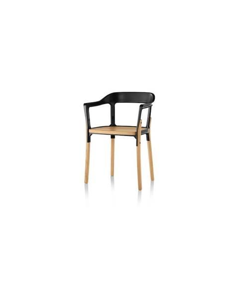 Magis Černo-hnědá jídelní židle Magis Steelwood
