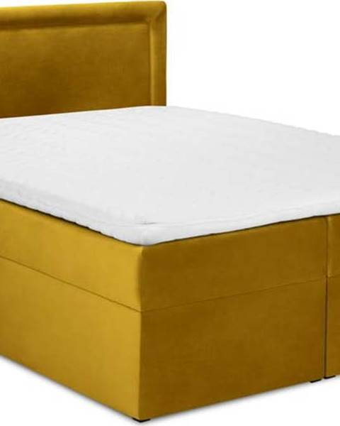 Mazzini Beds Hořčicově žlutá sametová dvoulůžková postel Mazzini Beds Yucca,180x200cm