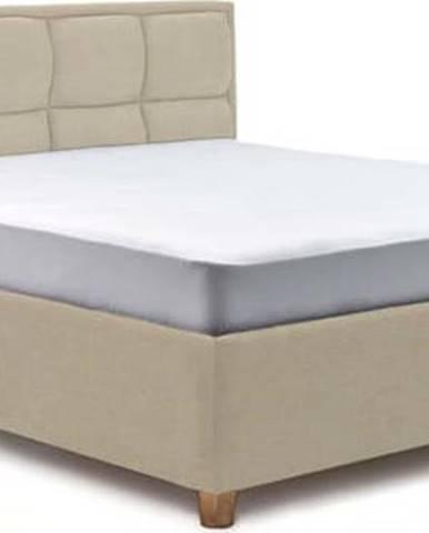 Béžová dvoulůžková postel s úložným prostorem ProSpánek Karme, 180 x 200 cm