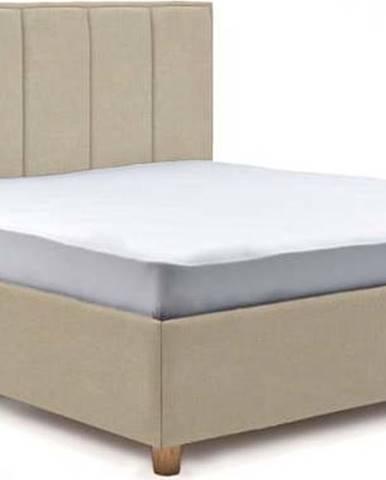 Béžová dvoulůžková postel s úložným prostorem ProSpánek Wega, 180 x 200 cm