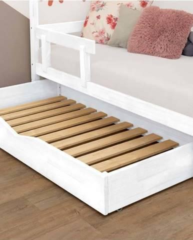 Bílá dřevěná zásuvka pod postel s roštem Benlemi Buddy,90x180cm