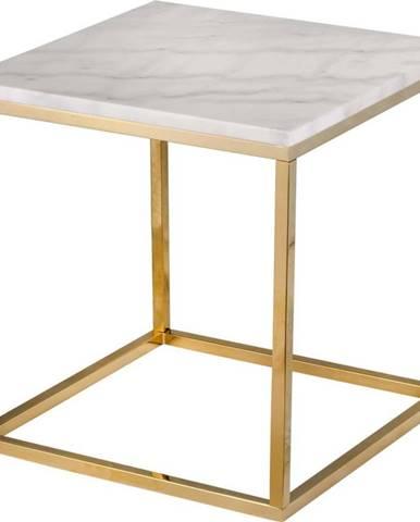 Bílý mramorový stolek s podnožím ve zlaté barvě RGE Accent, 50 x 50 cm