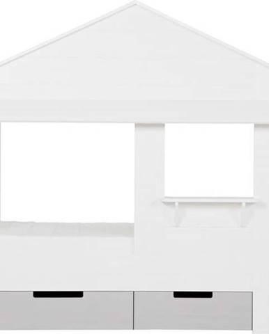 Sada 2 bílých spodních zásuvek z borovicového dřeva k posteli WOOOD Huisie