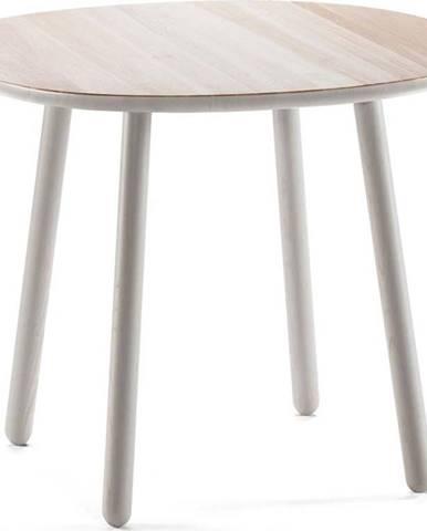 Šedý jídelní stůl z masivu EMKO Naïve, ⌀ 90 cm