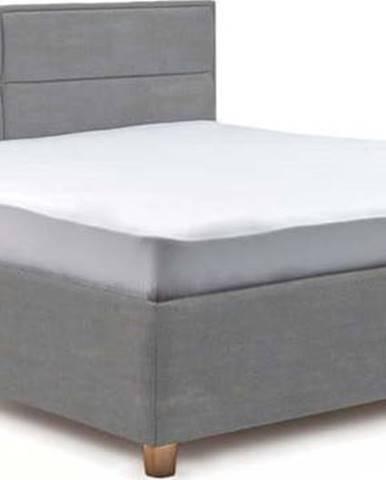 Světle modrá dvoulůžková postel s roštem a úložným prostorem ProSpánek Grace, 160 x 200 cm
