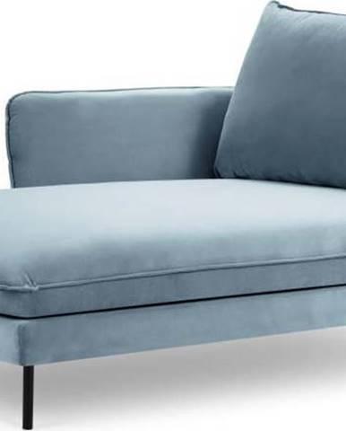 Světlé modrá sametová lenoška Cosmopolitan Design Vienna, levý roh