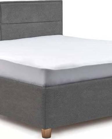 Světle šedá dvoulůžková postel s úložným prostorem ProSpánek Grace, 160 x 200 cm