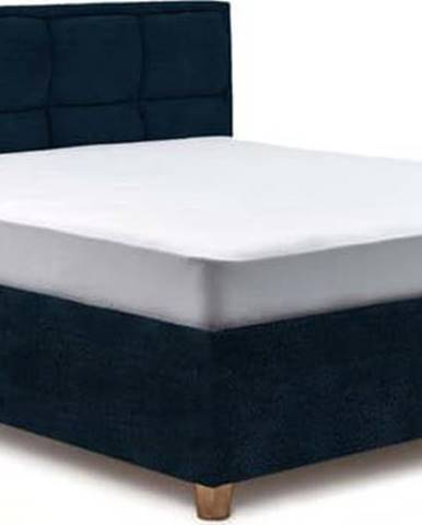 Tmavě modrá dvoulůžková postel s úložným prostorem ProSpánek Karme, 160 x 200 cm