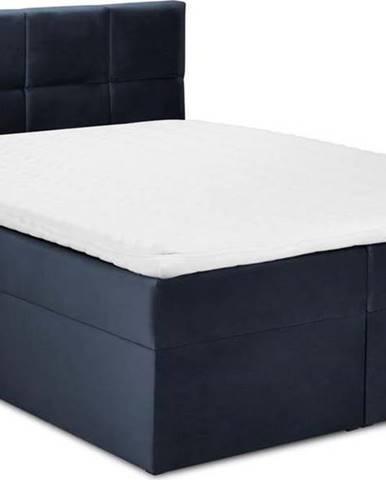 Tmavě modrá sametová dvoulůžková postel Mazzini Beds Mimicry,200x 200cm
