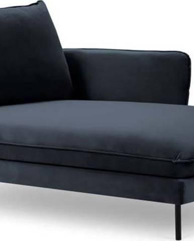 Tmavě modrá sametová lenoška Cosmopolitan Design Vienna, pravý roh