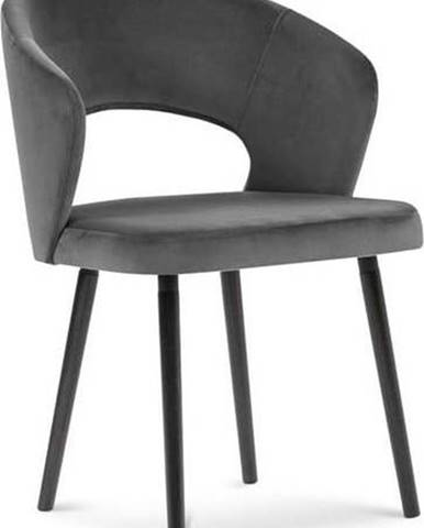 Tmavě šedá jídelní židle se sametovým potahem Windsor & Co Sofas Elpis