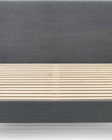 Tmavě šedá manšestrová dvoulůžková postel Bobochic Paris Anja Light, 180 x 200 cm