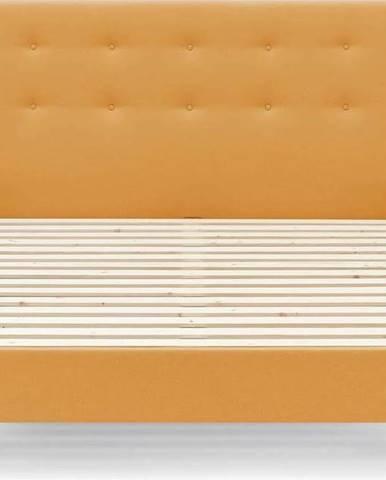 Žlutá dvoulůžková postel Bobochic Paris Rory Lights, 180 x 200 cm