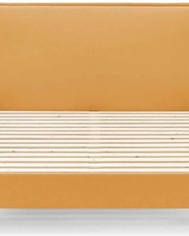 Žlutá dvoulůžková postel Bobochic Paris Sary Dark, 160 x 200 cm