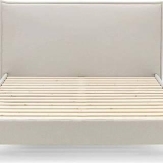 Béžová dvoulůžková postel Bobochic Paris Sary Dark, 160 x 200 cm