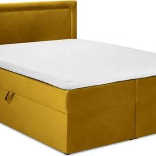 Hořčicově žlutá sametová dvoulůžková postel Mazzini Beds Yucca,180x200cm