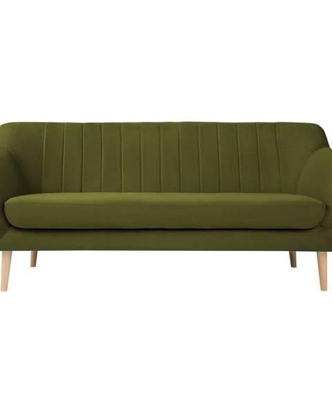 Mazzini Sofas Zelená sametová pohovka Mazzini Sofas Sardaigne, 188 cm