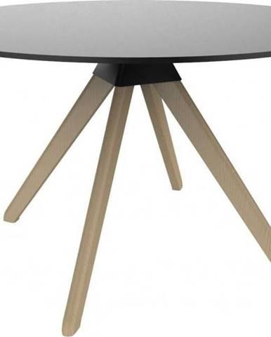 Černý jídelní stůl s podnožím z bukového dřeva Magis Cuckoo, ø120cm
