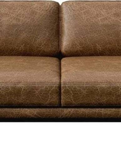 Koňakově hnědá kožená pohovka MESONICA Musso, 211 cm