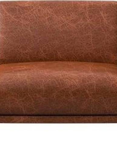 Červenohnědá kožená pohovka MESONICA Puzo, 240 cm