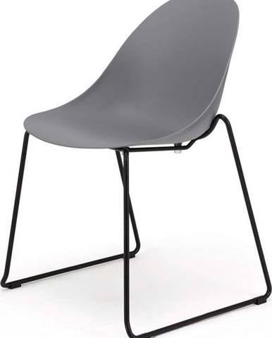 Sada 2 šedých jídelních židlí s černým podnožím Le Bonom Viva
