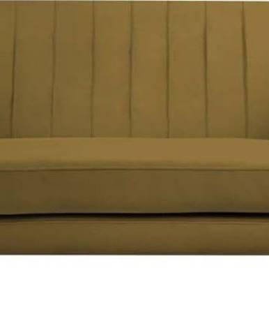 Sametová pohovka ve zlaté barvě Mazzini Sofas Benito, 158 cm