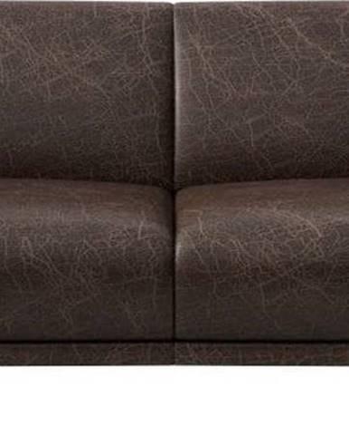 Tmavě hnědá kožená pohovka MESONICA Puzo, 170 cm