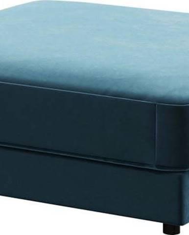 Tmavě modrá sametová podnožka Devichy Laure, 112x112cm