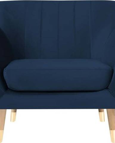 Tmavě modré sametové křeslo Mazzini Sofas Benito