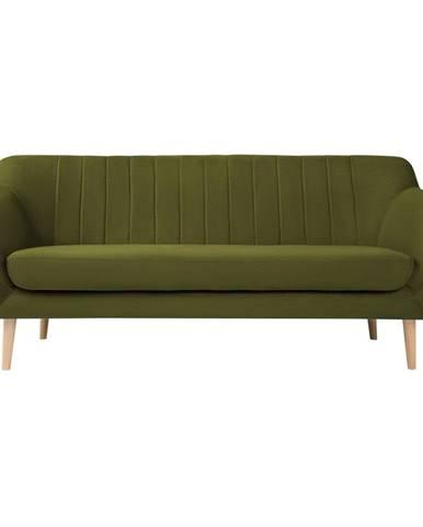 Zelená sametová pohovka Mazzini Sofas Sardaigne, 188 cm