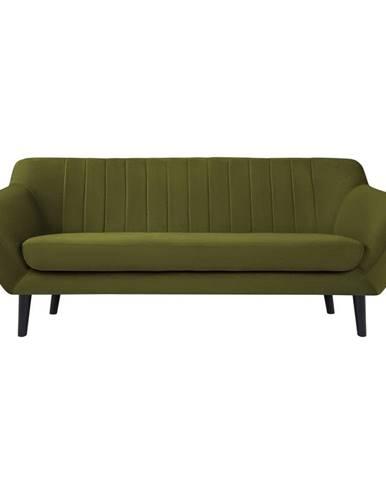 Zelená sametová pohovka Mazzini Sofas Toscane, 188 cm