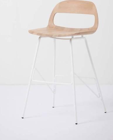 Barová židle se sedákem z masivního dubového dřeva a bílými nohami Gazzda Leina, výška83cm