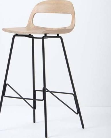 Barová židle se sedákem z masivního dubového dřeva a černými nohami Gazzda Leina, výška93cm