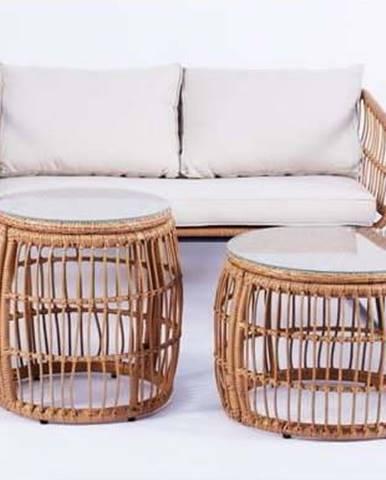 Béžový zahradní nábytek z umělého ratanu Le Bonom Vistdal