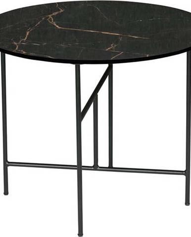 Černý konferenční stůl s porcelánovou deskou WOOOD Vida, ⌀ 60 cm