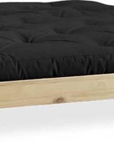 Dvoulůžková postel z borovicového dřeva s matrací Karup Design Elan Comfort Mat Natural Clear/Black, 140 x 200 cm