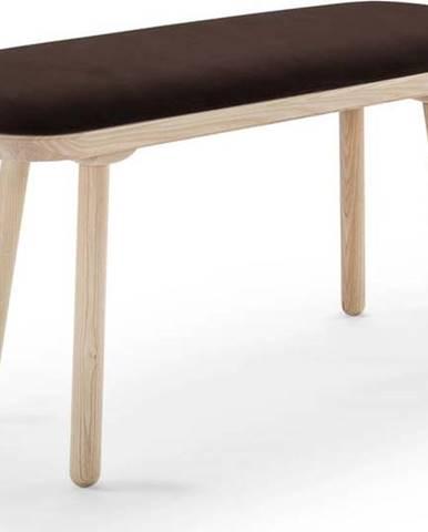 Hnědá sametová lavice EMKO Naïve,100cm