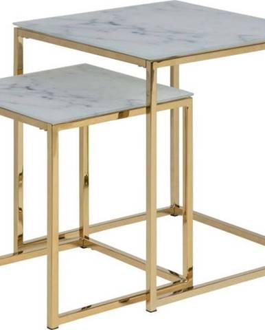 Sada 2 odkládacích stolků s deskou v dekoru bílého mramoru Actona Alisma