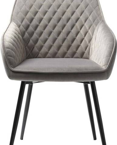 Šedá sametová jídelní židle Unique Furniture Milton