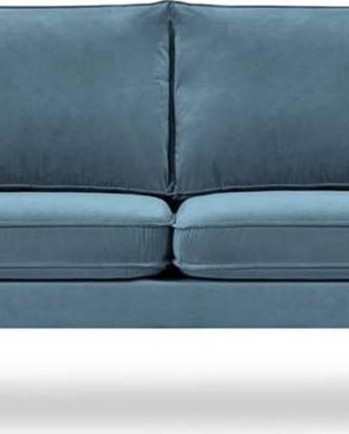 Světle modrá sametová pohovka s černými nohami Kooko Home Lento, 198 cm
