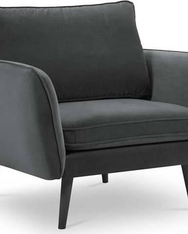 Tmavě šedé sametové křeslo s černými nohami Kooko Home Lento
