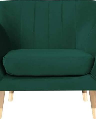 Tmavě zelené sametové křeslo Mazzini Sofas Benito