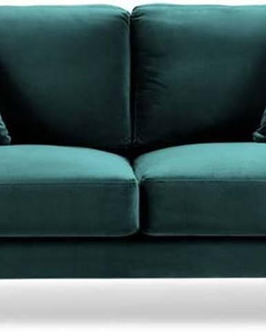 Tyrkysově modrá sametová pohovka Kooko Home Harmony, 158 cm