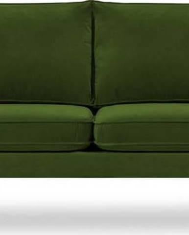 Zelená sametová pohovka s černými nohami Kooko Home Lento, 198 cm